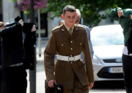 Soldier Cavan Langfield, arriving at court for the case, in which nine members of the EDL gang were given community sentences.