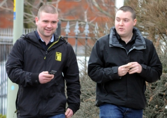 Steven Dryden,left, and Brian Mackey leaving South Tyneside Magistrates Court.