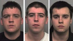 James Everley, James Smith and Joshua Morris were sentenced to three years for the arson attack