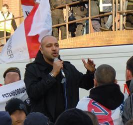 Guramit Singh speaking at an EDL demo in Peterborough