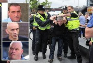 John Claydon is arrested during the EDL march in Hull on August 17. Inset, from top, Melvyn Parker, Wayne Douglas and David Bolton