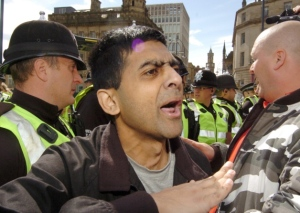 Abdul Rafiq at an earlier EDL rally in Bradford. Picture: Ross Parry Agency