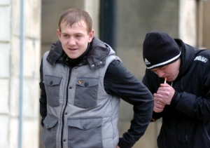 Darren Stokoe and Stephen Brown leaving Sunderland Magistrates' Court after pleading guilty to offences commited at an anti-mosque protest in Millfield, Sunderland
