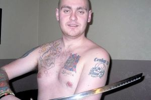 BNP member James Boyd poses with a samurai sword