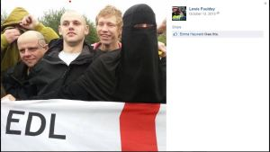 Lewis Foulds is the EDL supporter with the red dot above his head