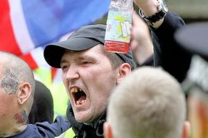 Wife beater David Knowles (R) at a Scottish Defence League Rally in Dundee last September