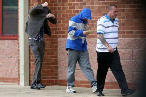 Frank Hudson, 19 and Martin Bell, 20, leave Peterlee magistrates court with a family member after sentencing