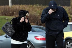 Steven Henley and Davina Copeland leaving Consett Magistrates court