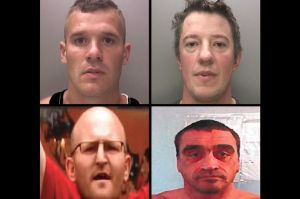 Clockwise from top left: Ashley Rowland, James Cocks, Melvyn Parker and Jason Harris were sentenced on Friday over violence during last year's EDL protest