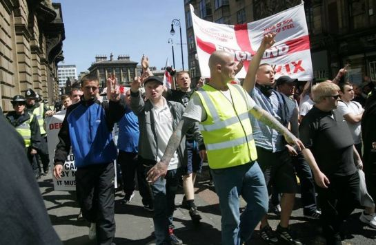 Thanks to EDL News for this picture of Kane on an EDL Demo