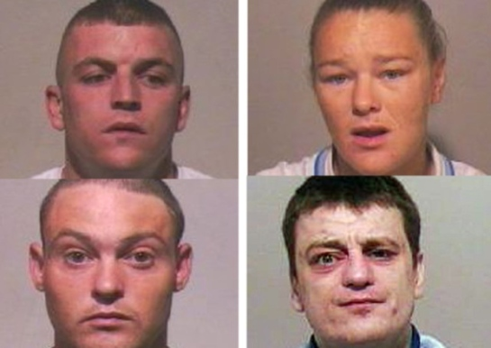 DRUGS CHARGES ... clockwise, from top left, Thomas Allen, Deborah Ritchie, Daniel Sayers and Adam Sayers.