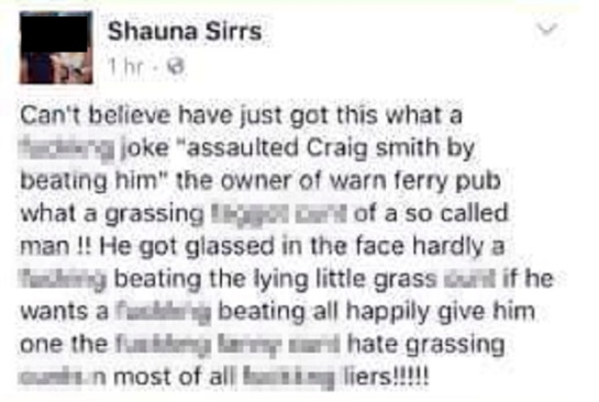 HDM ERM NEWS 13-10-16 NOT MAIL COPYRIGHT Screenshots of fb posts Shauna Sirrs put on fb.
