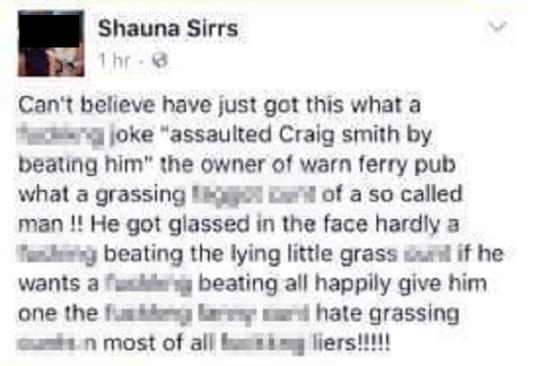HDM ERM NEWS 13-10-16 NOT MAIL COPYRIGHT Screenshots of fb posts Shauna Sirrs put on fb.