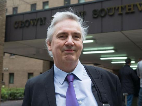 Tim Burton outside Southwark Crown Court before the start of his trial for racially aggravated harassment Rex