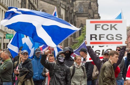 The Scottish Defence League protesting in Edinburgh in June (Image: SWNS)