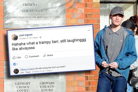Joshua Ingram leaves Grimsby Crown Court minutes after a taunting post, inset, appeared on his Facebook page (Image: Grimsby Telegraph)