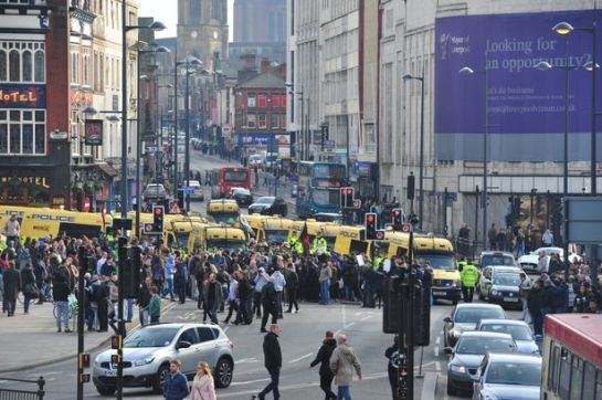 Liverpool's Lime Street was brought to a standstill during a full-scale riot erupted after anti-racist confronted around 70 people from far-right group the North West Infidels. Photo by James Maloney
