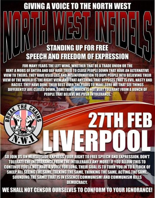 Poster from the North West Infidels group about its proposed Liverpool march