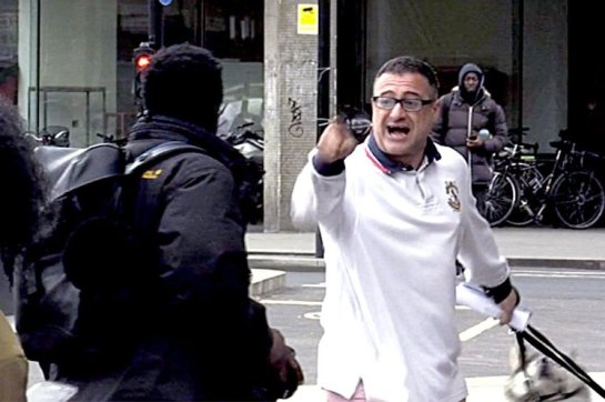 Roy Larner was filmed shouting at the photographer and calling him a 'black c***' (Picture: Newsflare/Indefilmsdotnet)