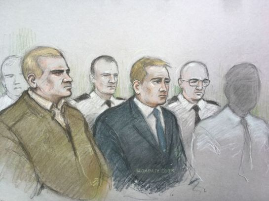 A court sketch of Mikko Vehvilainen, left, and Mark Barrett, centre, on trial at Birmingham Crown Court. (Image: Elizabeth Cook)