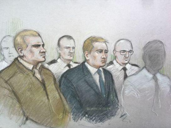 A court sketch of Mikko Vehvilainen, left, and Mark Barrett, centre, on trial at Birmingham Crown Court. (Image: Elizabeth Cook)