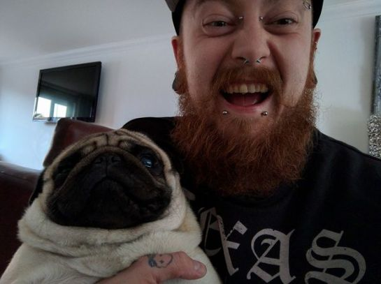 Mark Meechan denied committing a hate crime by releasing a video featuring his girlfriend's dog Buddha giving Nazi salutes (Image: Facebook)