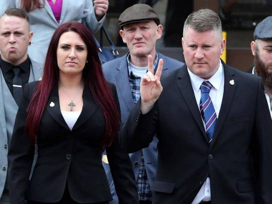 Far-right group Britain First leader Paul Golding (front right), and deputy leader Jayda Fransen at Folkestone Magistrates' Court on 7 March PA