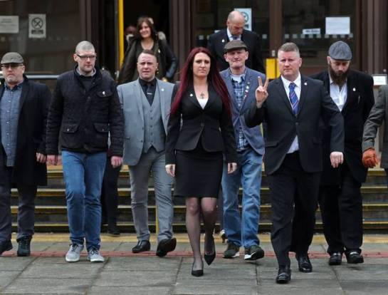 Paul Golding and Jayda Fransen with Britain First supporters (Gareth Fuller/PA)