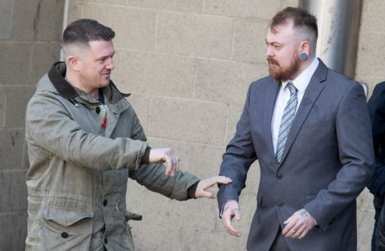 Mark Meechan (right) and Tommy Robinson at Airdrie Sheriff Court (Image: SWNS.com)