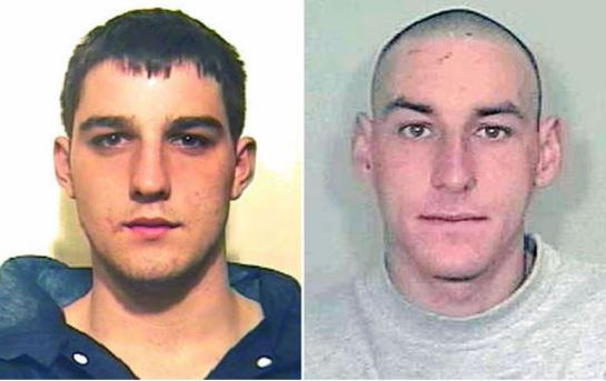 Bret Atkins, 24, and Jamie Snow, 27, sent crude explosive devices from the segregation unit of Full Sutton prison, near York and sent them to law firms in Halifax and Nottingham Photo: PA