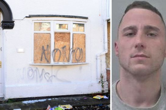 Jonathan West, who has a history of violence, was jailed for attacking a man at this house in Grimsby (Image: Grimsby Telegraph)