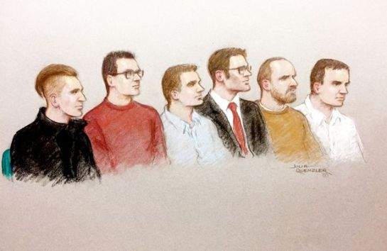 Court sketch of the accused sat in the Old Bailey (Image: Julia Quenzler / SWNS.com)