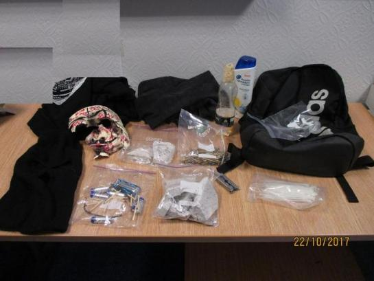Contents of a rucksack found by officers searching the older boy's hideout in Catterick Garrison. Picture: NORTH EAST CTU