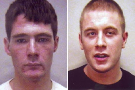 Mugshots of Christopher Sirrs (left) and Ben Povey who was jailed in 2004 for racial violence