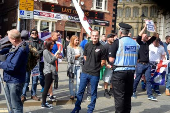 Daniel Lewis at an NF demo in Wigan. Picture from Hope Not Hate