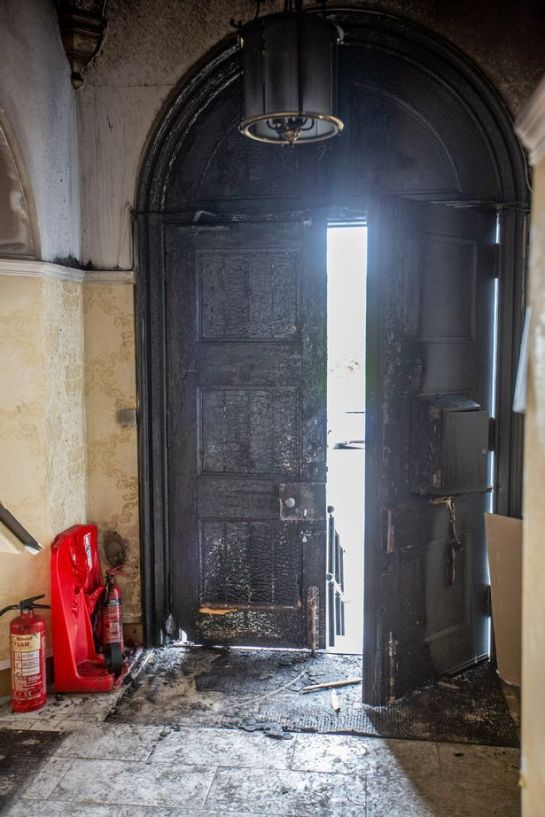 The door of the Sikh temple in Edinburgh was set alight