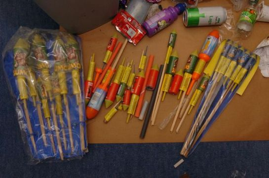 Grimsby Crown Court heard Nathan Worrell had been trying to assemble bombs using gunpowder from fireworks, pictured here, and chemicals in the same way as Soho nail bomber David Copeland