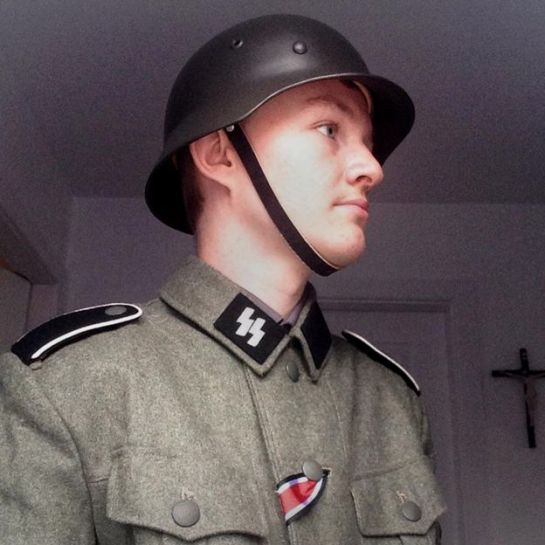 Jack Coulson dressed in a Nazi uniform