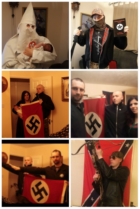 Top to bottom and left to right: Thomas in KKK robes holding son; Thomas with knife; Patatas & Thomas with son; Fletcher, Thomas & Patatas; Thomas & Fletcher; Thomas with crossbow