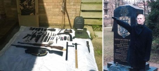 Weapons found at Vehvilainen's home - and photo of him performing a Nazi salute