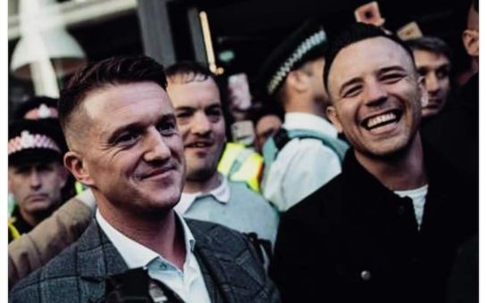 Daniel Thomas, also known as Danny Tommo, with Tommy Robinson, whose real name is Stephen Yaxley-Lennon, at a demonstration Credit: Daniel Thomas/Facebook