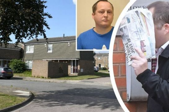 Neo-Nazi Nathan Worrell, right, appearing at court and inset after being jailed. His behaviour alarmed neighbours in Scott Close in Grimsby, main picture (Image: GrimsbyLive)